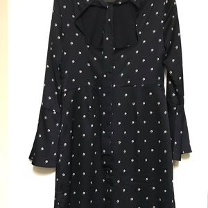 Navy blue dress with pearl dots